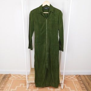 Vintage Green Textured Zip Up Mechanic Dress